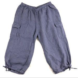 Flax Linen Cargo Cropped Capri Lagenlook Pants